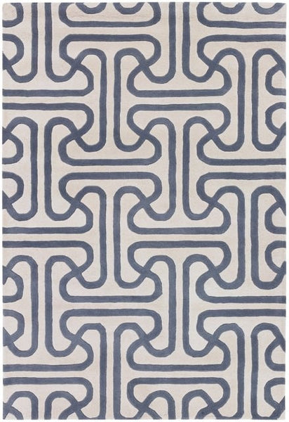 Iconic Rug in Slate and Cream - Yarn and Loom Rugs