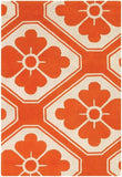 Obi Rug in Orange and Cream - Yarn and Loom Rugs