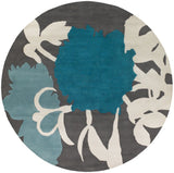 Peony Rug in Blue - Yarn and Loom Rugs