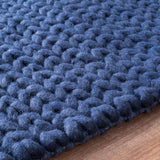 Chunky Sweater Cable Knit Rug in Navy Blue - Yarn and Loom Rugs