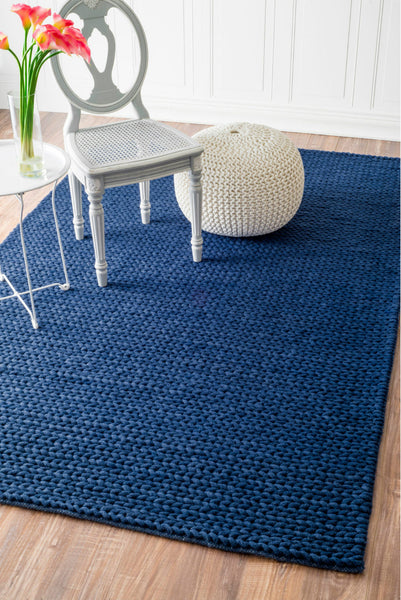 Chunky Sweater Cable Knit Wool Rug In Navy Blue Yarn