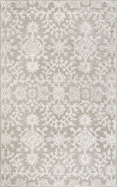 Dahlia Floral Rug in Light Grey - Yarn and Loom Rugs