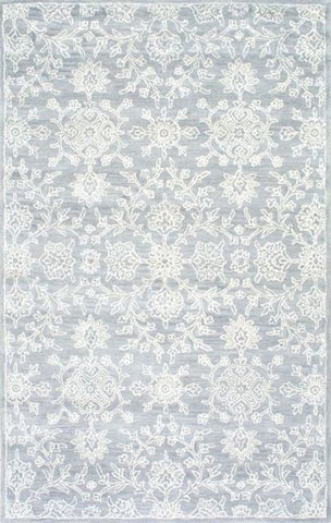 Dahlia Floral Rug in Pale Blue - Yarn and Loom Rugs