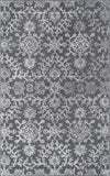 Dahlia Floral Rug in Charcoal Grey - Yarn and Loom Rugs