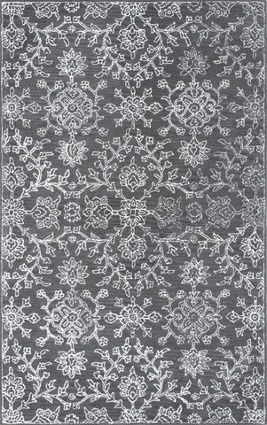 Dahlia Floral Rug in Charcoal - Yarn and Loom Rugs
