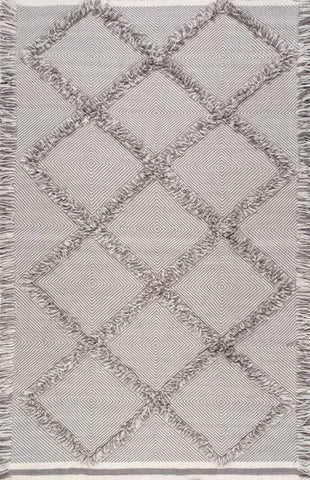 Diamond Lattice Tassel Shag in Grey - Yarn and Loom Rugs