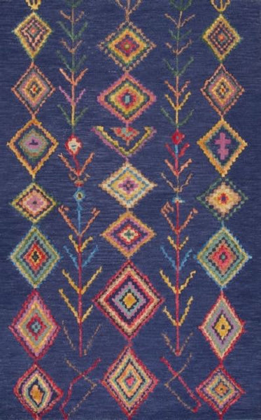 Tribal Aztec Rug in Navy Blue - Yarn and Loom Rugs