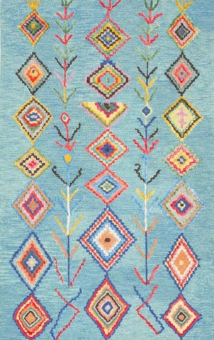 Tribal Aztec Rug in Turquoise - Yarn and Loom Rugs