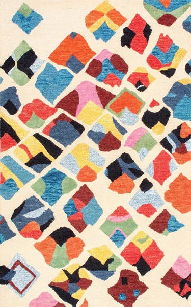 Klee Abstract Rug in Multi-Colour - Yarn and Loom Rugs