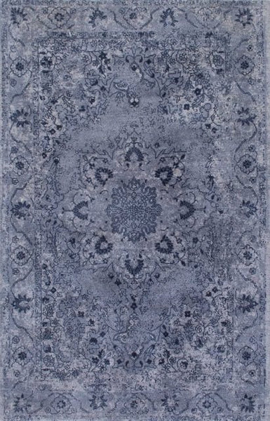 Overdyed Floral Adana Rug in Navy Blue - Yarn and Loom Rugs