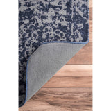 Heritage Medallion Rug in Navy Blue and Grey - Yarn and Loom Rugs