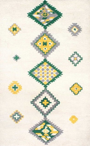 Navajo Tribal Rug in Green - Yarn and Loom Rugs