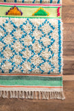 Paradise Trellis Shag Rug in Ivory and Bright Blue - Yarn and Loom Rugs