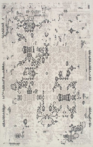 Vintage Damask Rug in Grey - Yarn and Loom Rugs