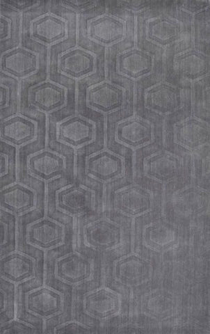 Hexagon Rug in Grey - Yarn and Loom Rugs