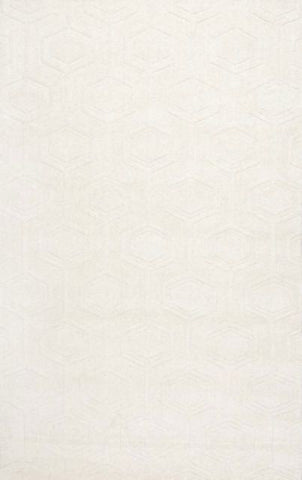 Hexagon Rug in Ivory - Yarn and Loom Rugs