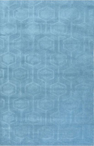 Hexagon Rug in Blue - Yarn and Loom Rugs