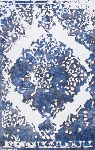 Radiant Medallion Rug in Blue, Grey and White - Yarn and Loom Rugs
