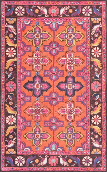 Gazin Medallion Rug in Coral and Pink - Yarn and Loom Rugs
