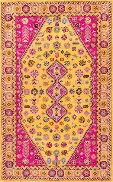 Jaru Floral Rug in Gold and Hot Pink - Yarn and Loom Rugs
