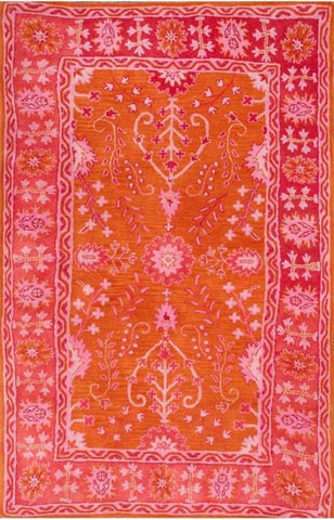 Hadim Traditional Floral Rug in Orange and Pink - Yarn and Loom Rugs