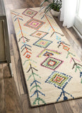 Tribal Aztec Rug in Multi-Colour and Dark Ivory - Yarn and Loom Rugs