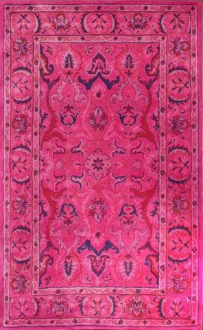 Aflak Floral Overdyed Rug in Bright Pink - Yarn and Loom Rugs
