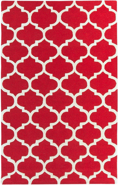 Classic Trellis Rug in Bright Red and Cream - Yarn and Loom Rugs