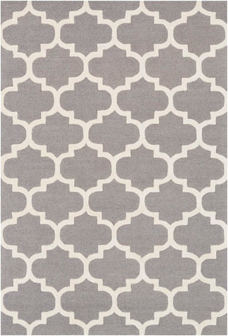 Classic Trellis Rug in Medium Grey and Cream - Yarn and Loom Rugs