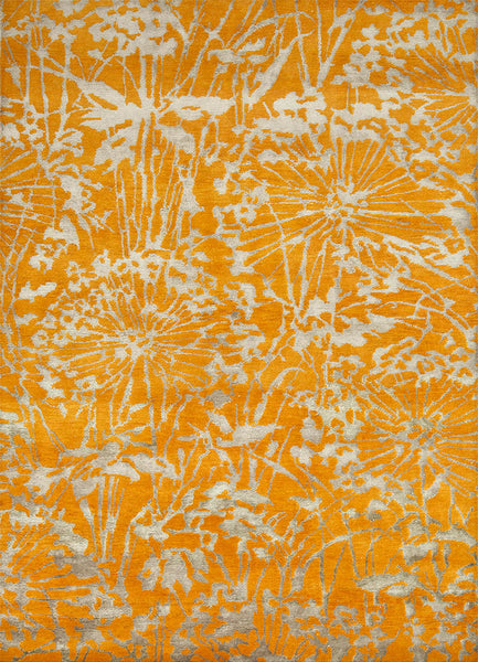 Agapanthus Rug in Sun Orange and Light Taupe - Yarn and Loom Rugs