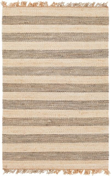 Airlie Striped Jute Rug in Grey and Natural - Yarn and Loom Rugs