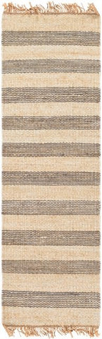 Airlie Striped Jute Runner in Grey and Natural - Yarn and Loom Rugs