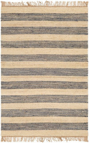 Airlie Striped Jute Rug in Navy Blue and Natural - Yarn and Loom Rugs