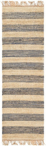 Airlie Striped Jute Runner in Navy Blue and Natural - Yarn and Loom Rugs