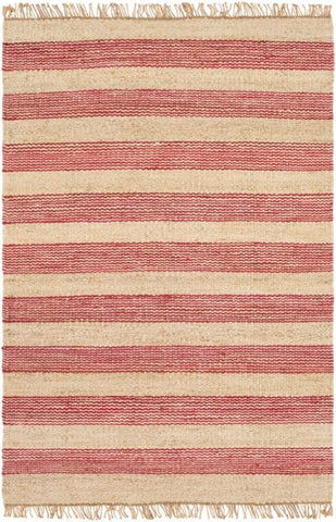 Airlie Striped Jute Rug in Pinkish-Red and Natural