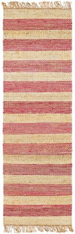Airlie Striped Jute Runner in Pinkish-Red and Natural