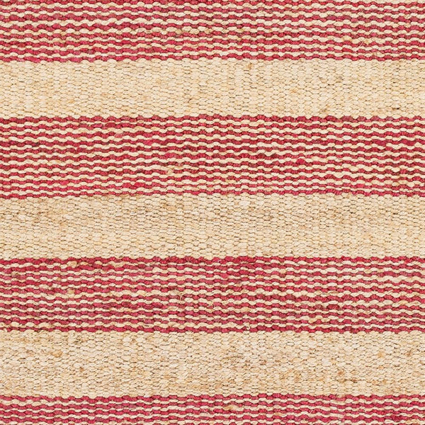Airlie Striped Jute Rug In Pinkish Red And Natural Yarn
