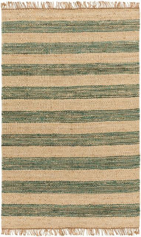 Airlie Striped Jute Rug in Teal and Natural - Yarn and Loom Rugs