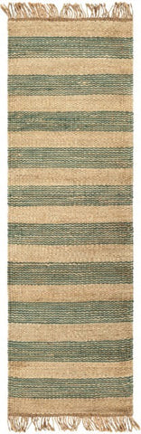 Airlie Striped Jute Runner in Teal and Natural - Yarn and Loom Rugs