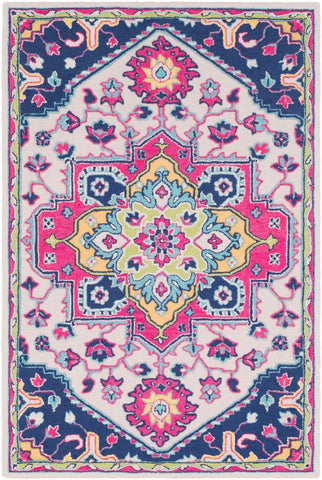 Arak Medallion Rug in Bright Pink and Dark Blue