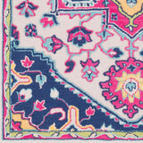 Arak Medallion Rug in Bright Pink and Dark Blue - Yarn and Loom Rugs
