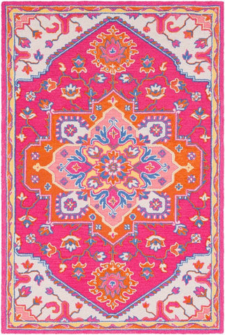Arak Medallion Rug in Bright Pink and Bright Orange - Yarn and Loom Rugs