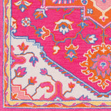 Arak Medallion Rug in Bright Pink and Bright Orange