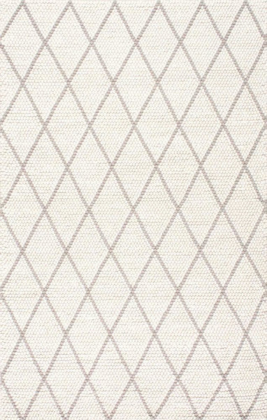 Argus Textured Trellis Rug in Ivory and Grey - Yarn and Loom Rugs