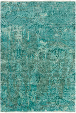 Ascot Hand Knotted Wool Rug in Aqua and Teal - Yarn and Loom Rugs