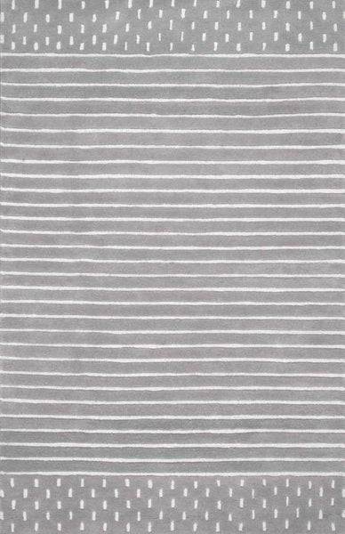 Byron Striped Rug in Grey - Yarn and Loom Rugs
