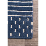 Byron Striped Rug in Navy Blue
