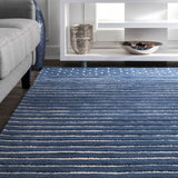 Byron Striped Rug in Navy Blue - Yarn and Loom Rugs