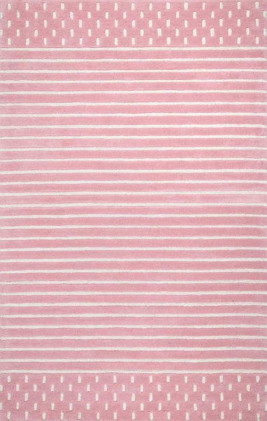 Byron Striped Rug in Pink - Yarn and Loom Rugs