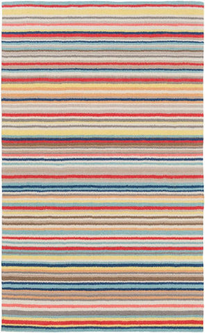Candy Stripe Rug in Multi-Colour - Yarn and Loom Rugs